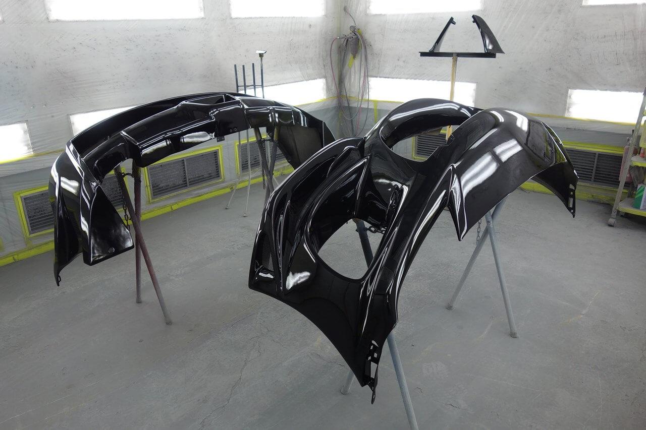 マツダ RX-8 社外FRP製エアロパーツ(前後バンパ)塗装取付です。中央区。