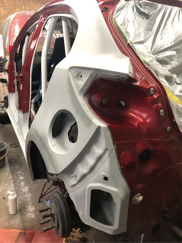 左サイドシル交換、クォーターパネル交換塗装