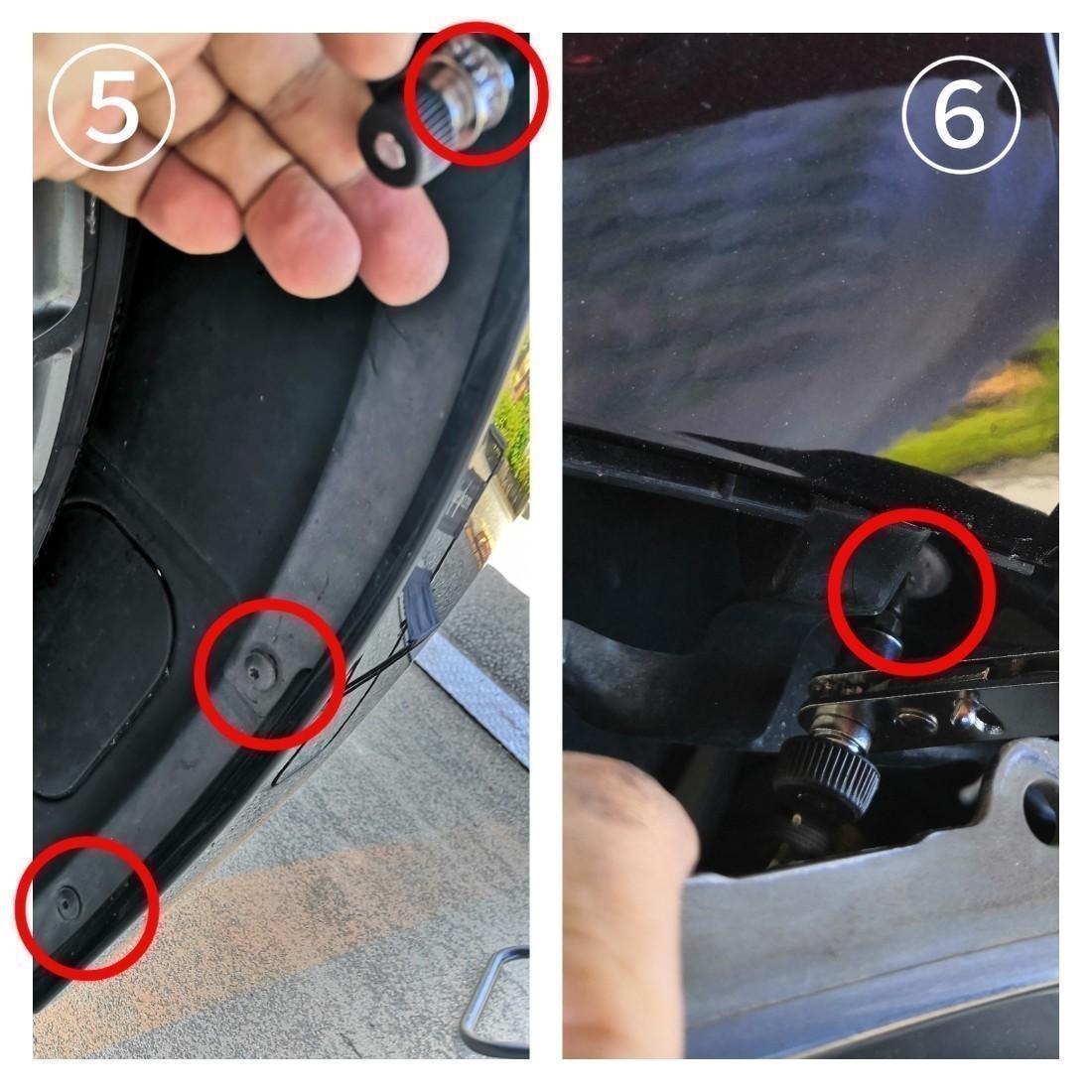 ⑤フロントフェンダー裏 T25&#215;4<br />  1箇所は手の奥辺りにあります。<br /> <br /> <br /> ⑥バンパーを引っ張り側面のヘッドライト固定 T30