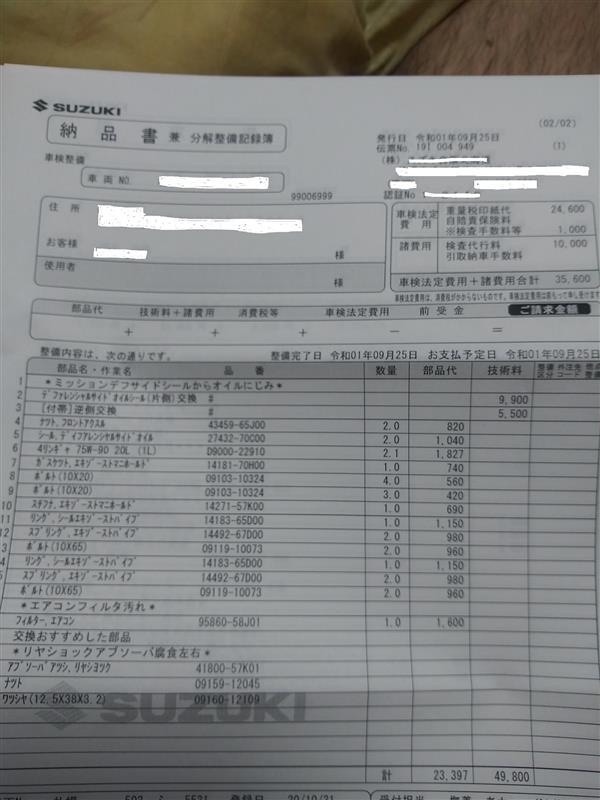 スイフトスポーツZC31S 5回目の車検