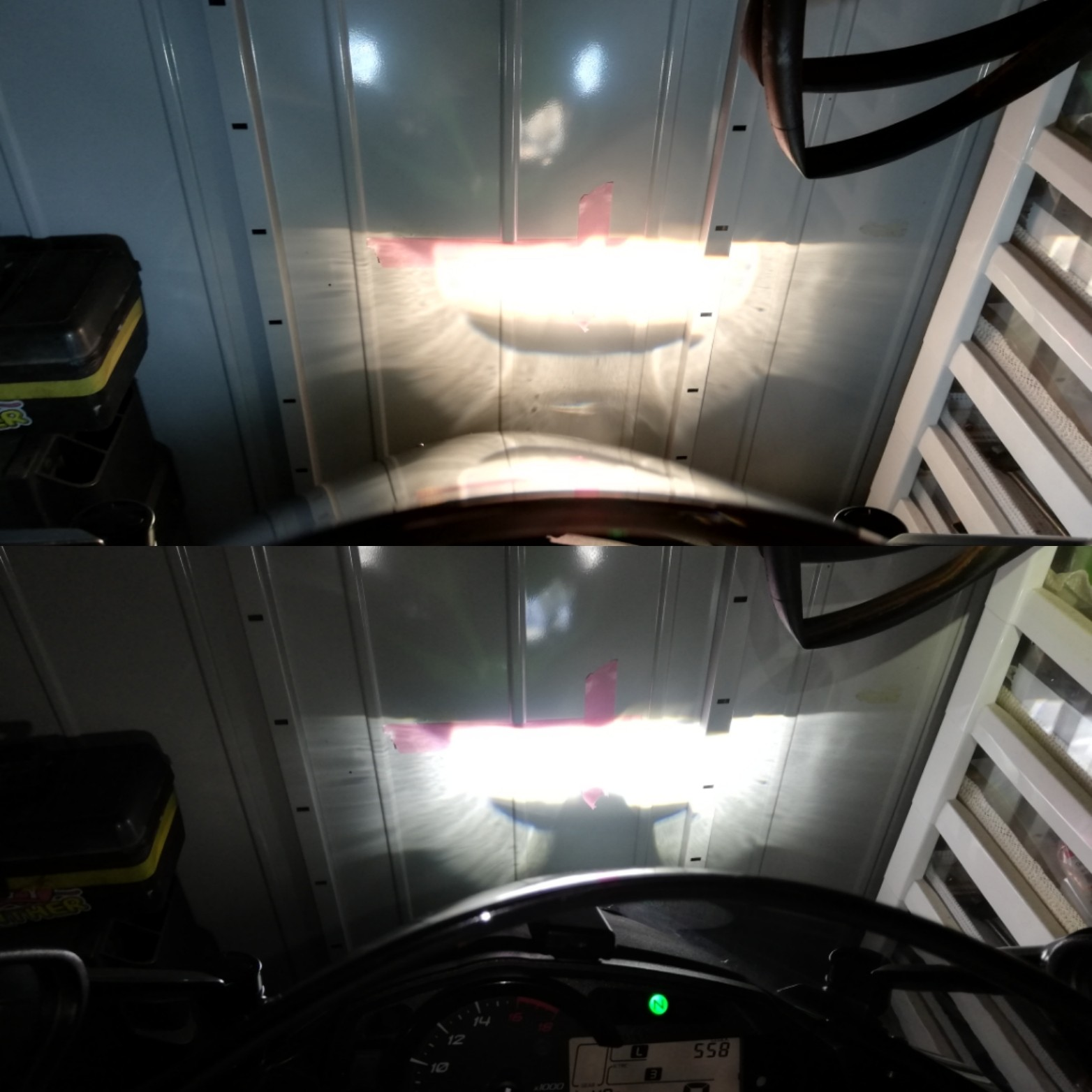 上 装着前 純正ライト <br /> ラインに合わせてマスキングテープ貼りました。<br /> 下 クロライトLED 装着後<br /> マスキングテープのラインピッタリです。<br /> すごすぎるー!!!<br /> 近いからかな?