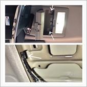 ミラーモニターのコードは、サングラスホルダーから、天井裏を通して、助手席下まで、取り回し。<br /> <br /> 運転席側のサングラスホルダーを開けると、矢印部分がプッシュリベットで止まっているので、プッシュリベットの中央部分を押し、ロックを外し、プッシュリベットを外してから、ルームミラー側、フロントガラス側の順に外していきます。<br /> <br /> ルームランプの配線は、コネクターを引き抜き外した方が、作業しやすいと思います。<br /> <br /> 下の画像は、サングラスホルダーを外した画像。<br /> <br /> 矢印の部分から、天井裏へアクセスできるので、配線ガイドでフロントガラス上部へ。<br /> ※写真に見える配線は、ルームランプの配線<br /> <br /> 天井裏は、鉄板剥き出しなので、配線は、コルゲートチューブで保護。