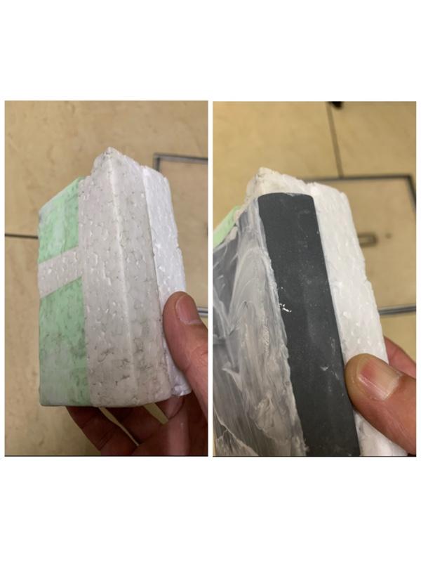 そして耐水ペーパーで均等に研磨できるよう、発泡スチロールでサンディングブロックを自作してみました。ペーパーを挟めるよう、発泡スチロールの板を2枚合わせました(^.^)vこれで研ぎやすくなります
