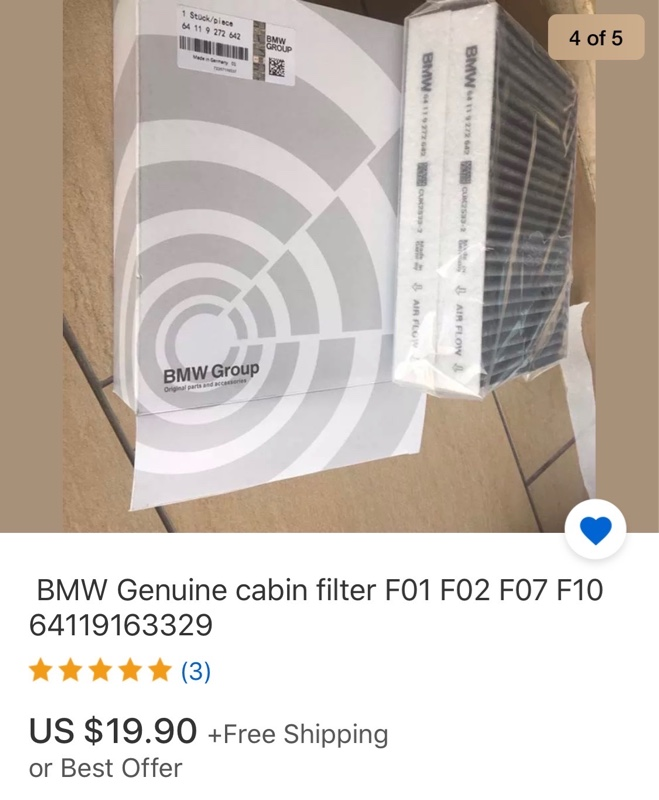 BMW純正ファインダストフィルター交換