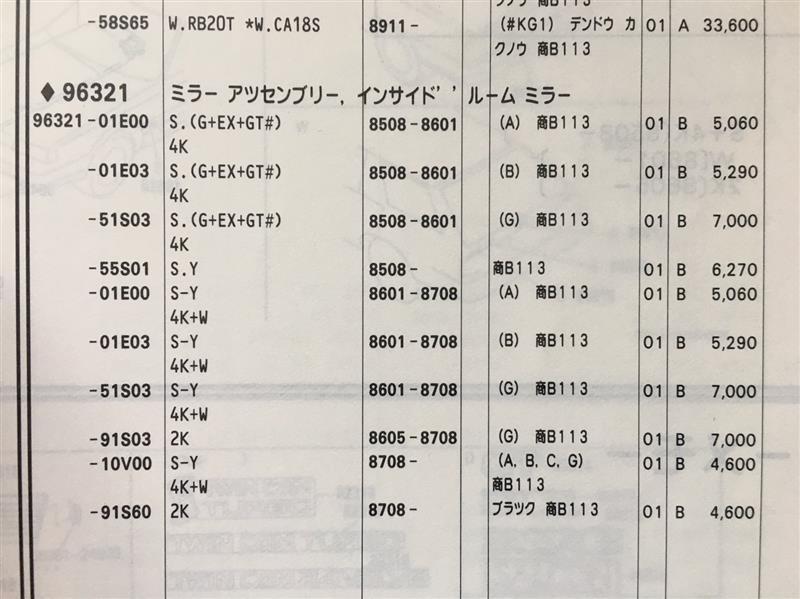 R31前期4ドア用ルームミラー発注・交換