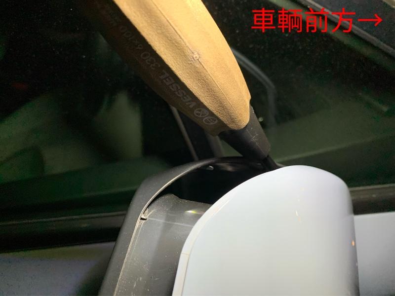 ドアミラーへのカーボンシート貼り付け①