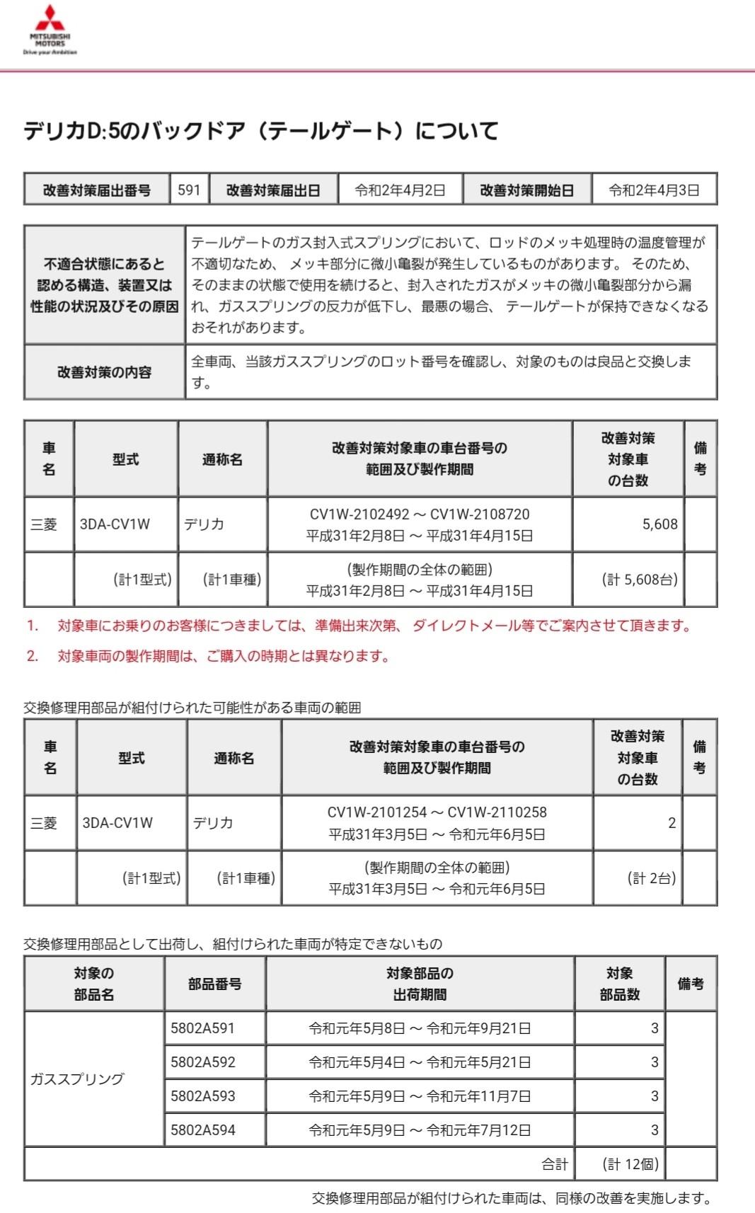 【リコール No.591】リアゲートダンパー交換