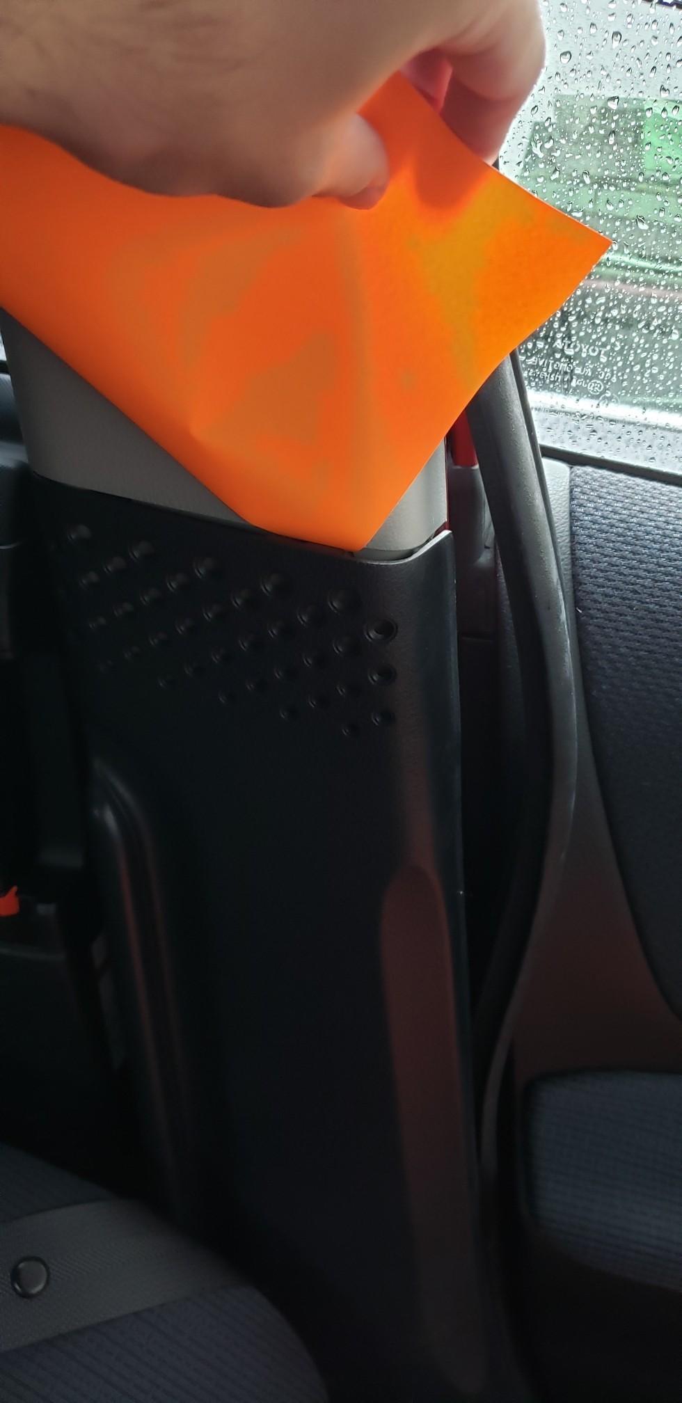 Bピラー穴部のオレンジ化