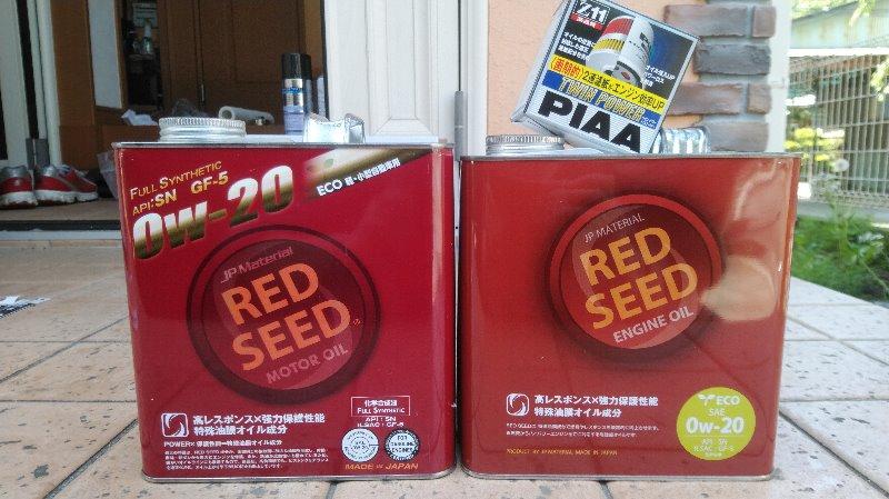 いつも通りの<br /> オイル:RedSeed 0W-20<br /> フィルター:Piaa Z11<br /> で、交換。<br /> <br /> 缶のデザイン、新旧比較。旧はモーターオイル、新はエンジンオイル の記載。この違いは何でしょ???<br /> <br /> ODO:46,009km