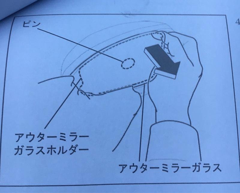 ミラー外す時は<br /> 落とさない様、<br /> 右側に隙間を開けて<br /> 両手で抑えながら<br /> テコの原理で引けば取れます。