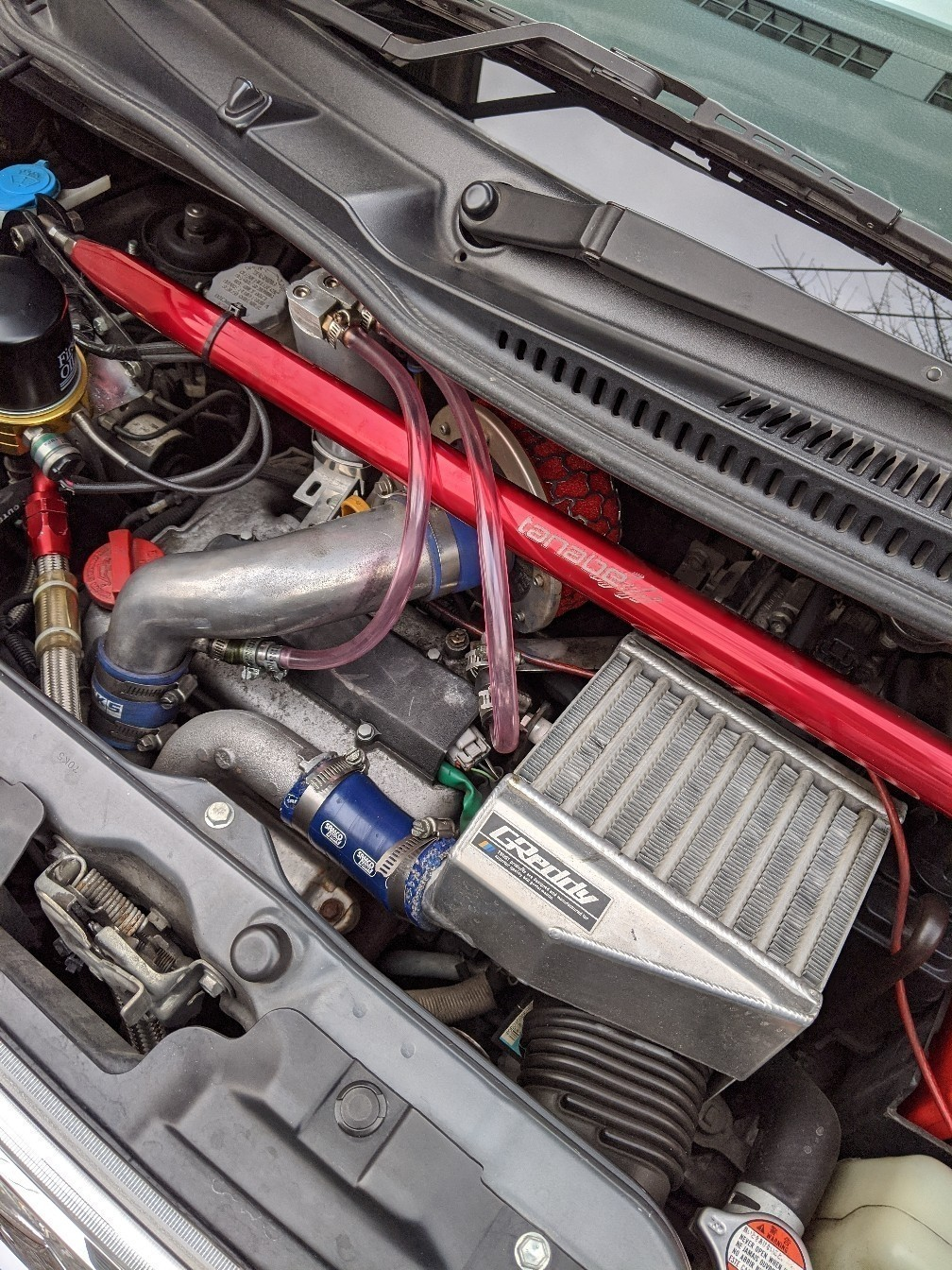 オイルクーラーのオイルライン新調と大容量インジェクター装着