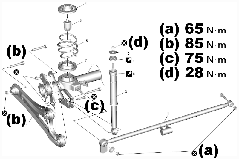 足回り+エンジンマウント 締付トルク (FWD/4WD) Works/RS/NA/Van 共通