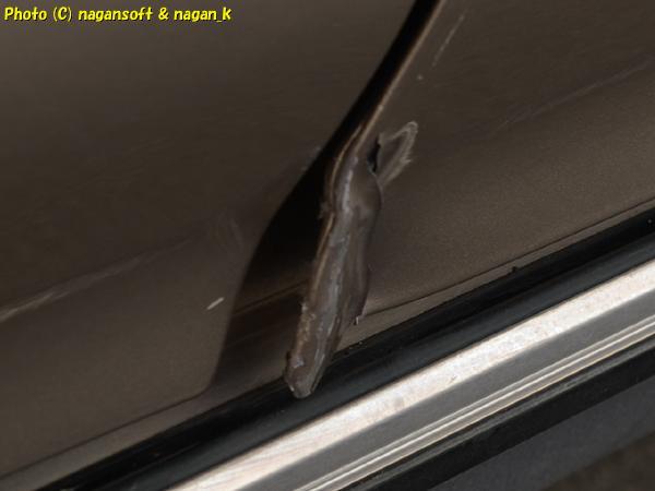 クラゴン君、運転席扉下端の曲がりをド素人板金修理