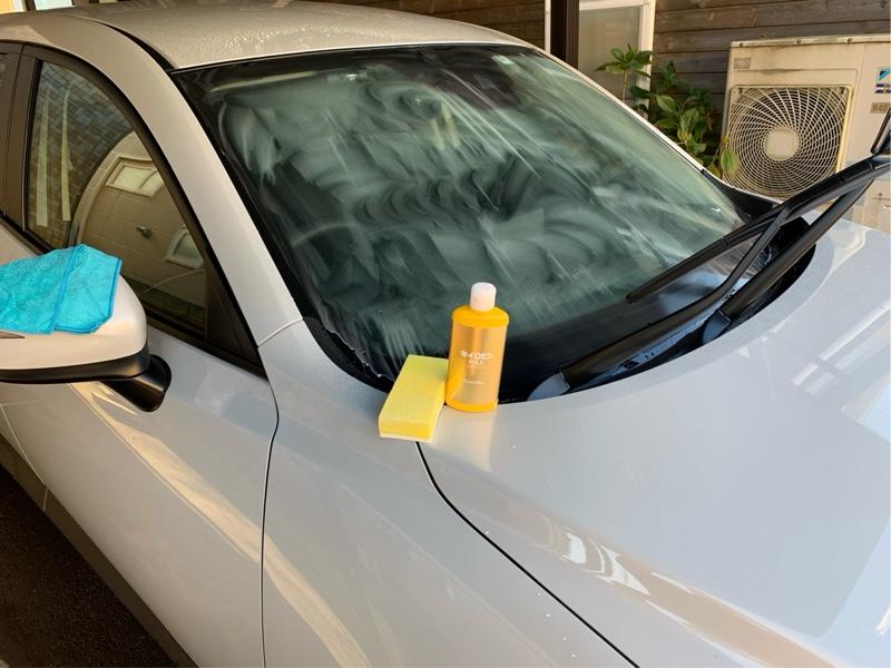 初洗車 キイロビン→撥水ガラスコーティング