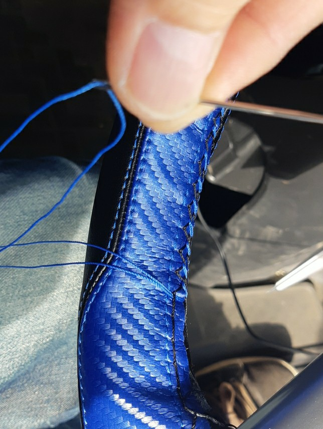 ハンドルカバー編み込み式取り付け