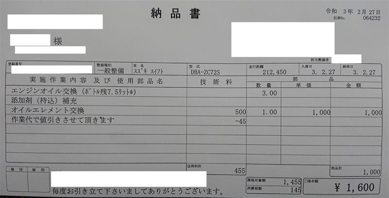 エンジンオイル&エレメント交換・・212,450km(50回目)