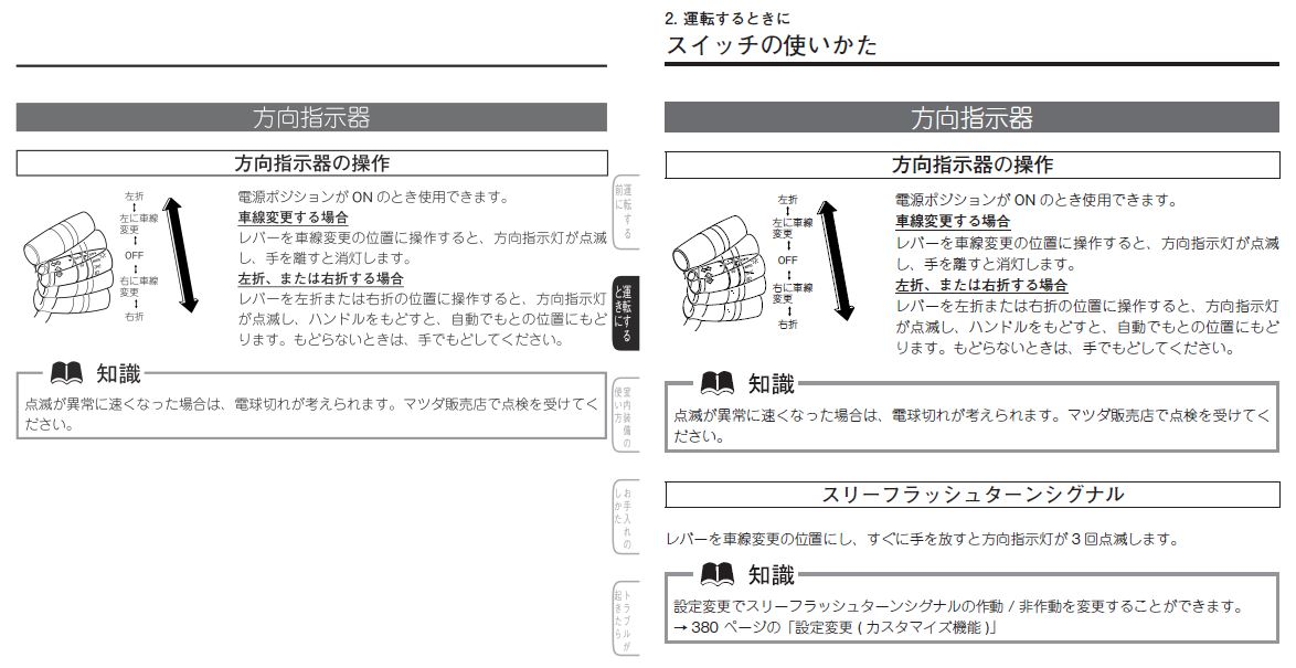 取説の違い(CX-5 KE前期)