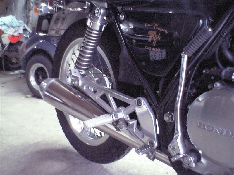 GB400TTホワイトブロス メガホンマフラーの単体画像