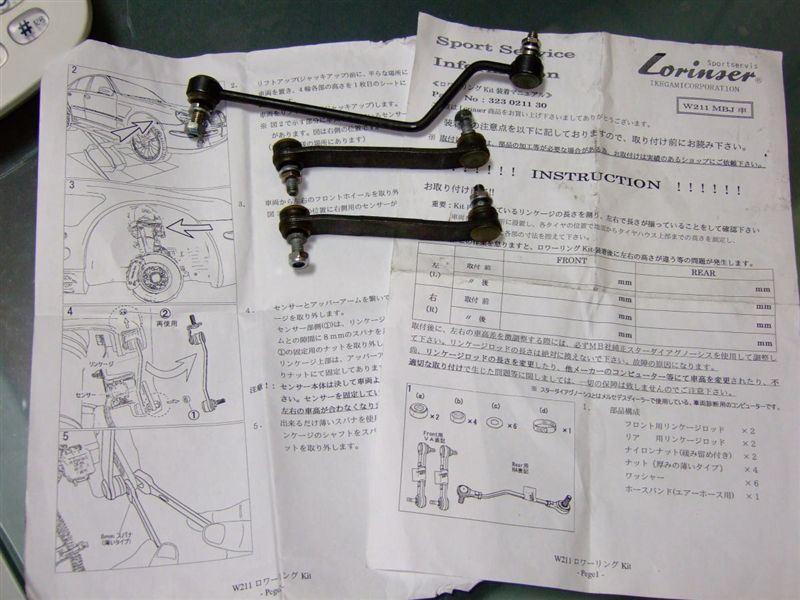 Eクラス セダンロリンザー ロワリングキットの単体画像