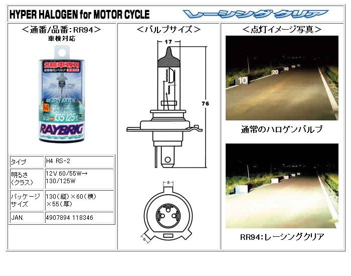 ゼルビスRAYBRIG / スタンレー電気 Racing HYPER HALOGEN RACING CLEARの単体画像