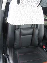 BONFORM ボンフォーム アクア専用  レザーシートカバー 赤ステッチ +腰当・ネックピロー