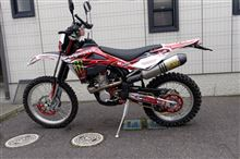TE250ARROW MX Competition titan full exhaust system with carbon end capの単体画像