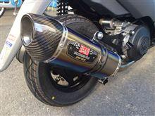 アドレスV125ヨシムラジャパン R-77S サイクロン カーボンエンド ブルーチタンカバーの単体画像