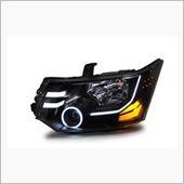 オールカープロダクツ デリカD5 LEDブラスト加工&クリスタルイカリング ヘッドライト