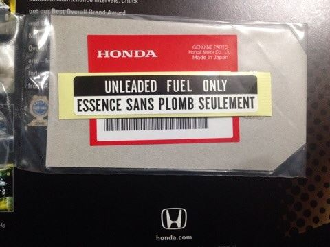 HONDA GENUINE PARTS LABEL