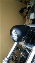 ダイナ ワイドグライドRIVERA/PRIMO エイリアンブラックアルミヘッドライトの単体画像