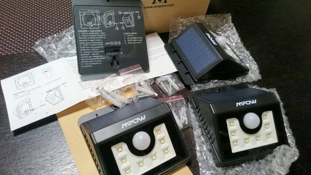 Mpow Mpow 8 LED ソーラーライト 玄関ライト アウトドアライト センサー搭載 太陽発電 省エネ 夜間自動点灯 軒先/庭/ガーデン/庭先/玄関周りなどの照明用(四点セット)