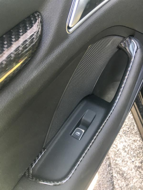 Carbon Fiber Interior Door Armrest Window Lift Cover Trim For Audi A3 2013 17