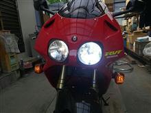 RVFメーカー不明(made in USA ?) バイク専用LEDヘッドライトH4Hi/Lo(25W×2)6000LM6500Kの全体画像