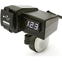 大陸製 不明 オートバイ GPS携帯電話  USB電源ソケット充電器+ BULE電圧計 3.1A  USB2ポート
