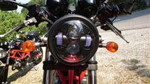 グース250メーカー・ブランド不明 ハーレーもどきLEDヘッドライトの単体画像