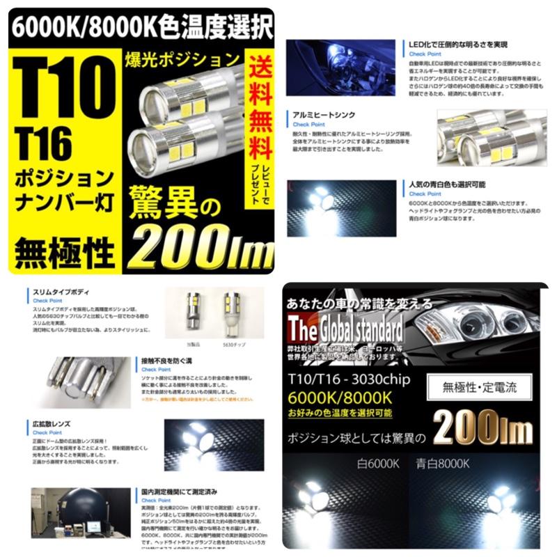 REIZ TRADING T10 T16 LED ポジション バックランプ 無極性 爆光 200lm 6000k/8000k 白/ホワイト/青白 スモール