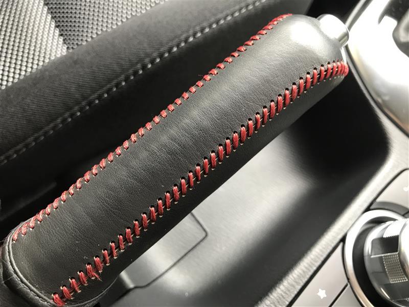 SAMURAI PRODUCE サイドブレーキ レザーカバー オールレザー×赤ダブルステッチ