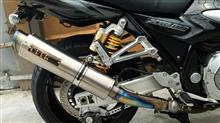 XJR1300OVER RACING マフラー交換 GP-PERFORMANCE チタンスリップオンの全体画像