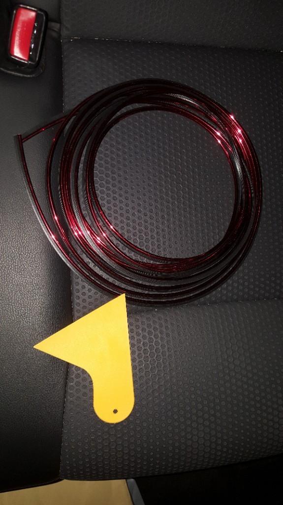A.P.O A.P.O(エーピーオー) ★スリムモール(メッキ赤) 5m //レッド 500cm リブ付 インテリア カラーモール ヘラ付き