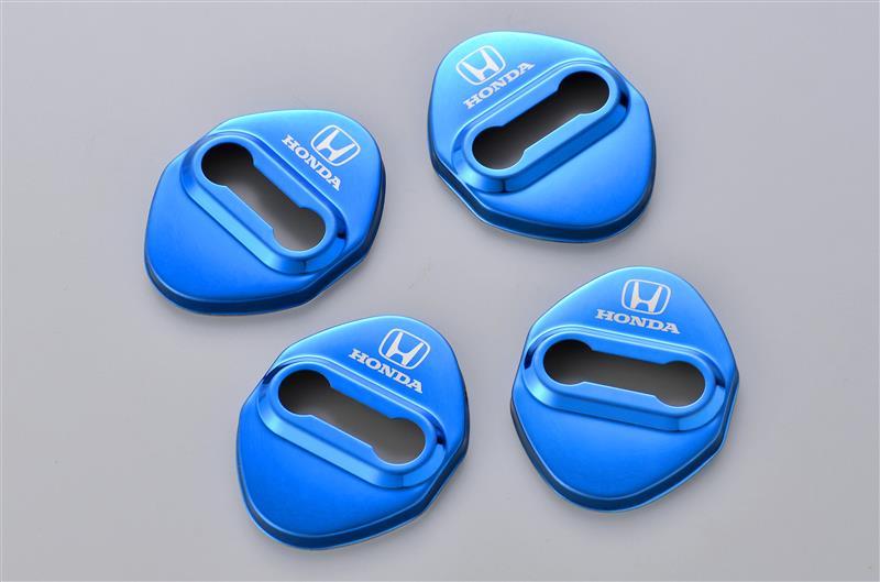 不明 HONDA ドアストライカー メタルカバー ブルーメタリック 4個セット