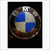 メーカー・ブランド不明 BMWオールカーボンエンブレム藍銀82mm