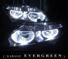 パートナーGARAGE EVERGREEN(ガレージエバーグリーン) 4連高輝度白色イカリング増設 仕様 カスタムヘッドライト(エアウェイブ流用)の全体画像