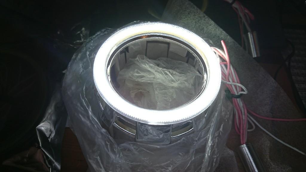 ライトニングブースS COB イカリング 80mm LED ホワイト/白 エンジェルアイ 拡散カバー付 2個セット