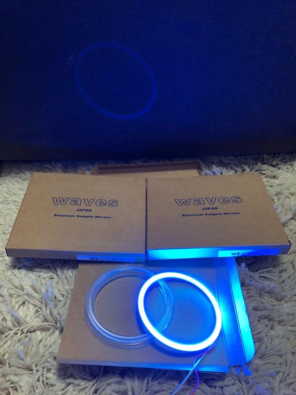 unknown 80mm カバー付き COB LED 高輝度 イカリング エンジェルアイ 12V/24V 安定器付 ライトブルー