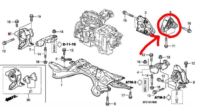 ホンダ(純正) 50810-SFA-981 インシュレーターマウンティング