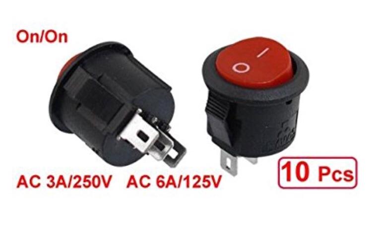 SODIAL(R) 10個のSPDT黒赤ボタン/ラウンドロッカー上切り替え AC 6A/125V 3A/250V