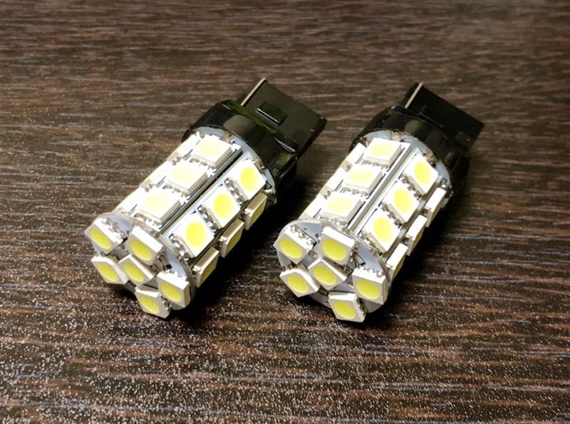 NoBrand T20 【シングル】【ホワイト】27連SMD LEDバルブ 2個