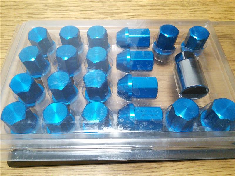 AZZURRI PRODUCE レーシングナット P1.25 ブルー (青) ジュラルミン ホイールナット ロックナット付き 20本 セット
