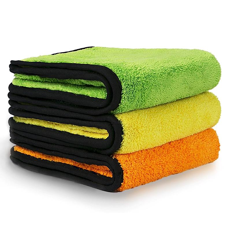 Vacplus 洗車タオル, 厚手タイプ ふんわりタッチ,マイクロファイバークロス,吸水 速幹 洗車拭き取り クロス ( 3枚セット )