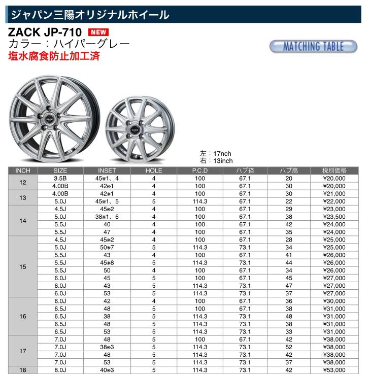 ジャパン三陽オリジナルホイール  ZACK JP-710  18×8.0J 40   114.3 5H  4本   (カラー:ハイパーグレー) 18インチ 8J